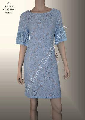 IVANKA TRUMP Women Dress BABY BLUE Size 6 Short Sleeve FLORAL LACE Dressy (Baby Blue Floral Dress)