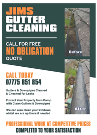 JIMS GUTTER CLEANING SERVICES FROM £30 FOR TERRACED HOUSE