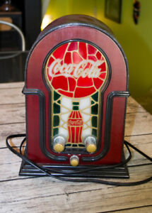 Coca-Cola Coke Stained Glass Look Vitrail Antique Radio