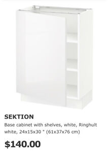 IKEA SEKTION 2 X  RINGHULT HIGH GLOSS WHITE 24x15X30 CABINETS