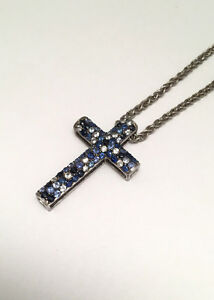 Sapphire Cross Pendant Necklace in Sterling Silver Effy Jewelry