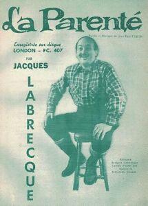 JACQUES LABRECQUE, PAROLES ET MUSIQUE DE LA PARENTÉ