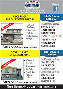 For Sale: Lots and Homes in Lethbridge & Coalhurst, AB