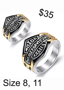 Brand New Mens Stainless Steel Harley Davidson Rings For Sale