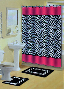 Pink Zebra Stripes Animal Print 15 Pcs Shower Curtain w. Hooks Bathroom Rug Set