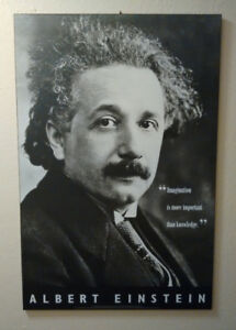 LARGE Albert Einstein poster, block/plaque-mounted (LIKE NEW)