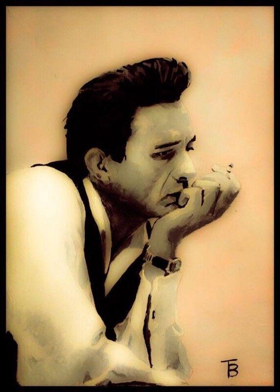 Original Johnny Cash Painting