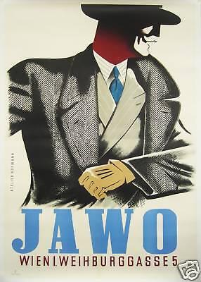 1940s ORIGINAL VINTAGE AUSTRIAN ART DECO MENS FASHION POSTER, JAWO - EBERLE