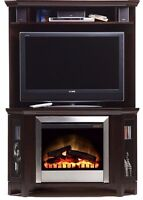 Solid Cappuccino Electric Fireplace/Entertainment corner unit