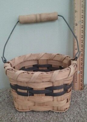 """2-Color WOVEN GATHERING MARKET BASKET Andrea Herman of Michigan -5""""x5"""" 3.5"""" tall"""