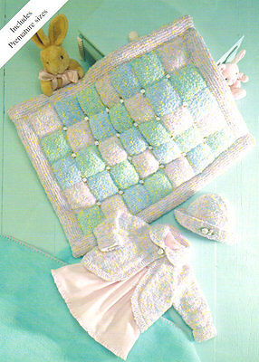 "Baby Cardigan Hat & Padded Blanket  12 - 20"" Snuggly DK Knitting Pattern"