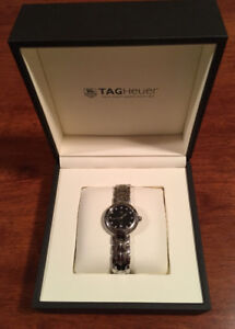 LADIES TAG HEUER GUILLOCHE QTZ SS BLACK DIAMOND WATCH FOR SALE!