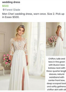 Wedding Dress Mon Cheri  size 0-2