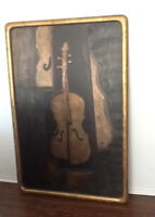 """PAINTING: INSTRUMENT ON WOOD  STAIN=60"""" x40"""" ((H:153CM)GOLD LOOK"""