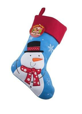 PERSONALISED BLUE DELUXE CHRISTMAS STOCKING 40cm X 25cm, Penguin Santa, Snowman