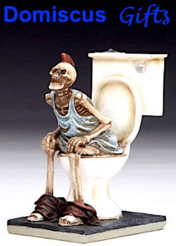 """3 1/2"""" NEW! Heavy Metal GOTHIC Skeleton on TOILET FANTASY Figurine Statue"""