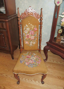 Antique Wood Chair - Needlepoint Back & Seat - Hand Stitched