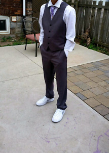 Boys Grey Suit and Italian suade shoes