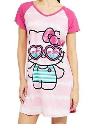 Hello Kitty Nightgown - Hello Kitty Sleep Shirt Size L/XL Womens Nightgown Sanrio Pajamas Pink NWT