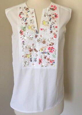 Collection Thomas Mason for JCrew embellished sleeveless top White 4 F2048