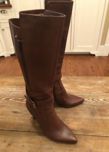Brown and  Black Leather Boots Nine West size 7.5