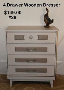 "#28 Wood 4 Drawer Dresser ""Very Nice"""