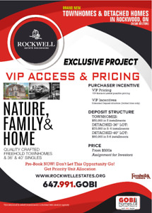 Brand New FREEHOLD TOWNHOMES & DETACHED VIP sale in Rockwood