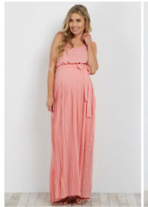 Pink Pleated Chiffon Maternity Dress  -Size L