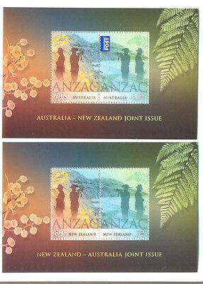 Australia-New Zealand-Anzac joint issue 2 min sheets --mnh-2015