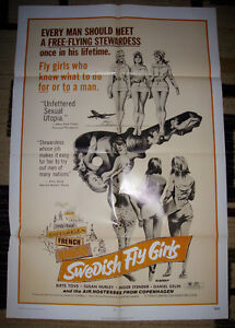 RARE 1971 SWEDISH FLY GIRLS ADULT MOVIE POSTER EX NM CONDITION