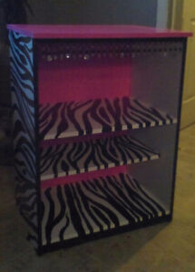 Zebra and pink shelving unit $60 obo