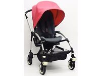 Bugaboo Bee Plus Stroller - Denim 107 with Pink & Yellow Canopy