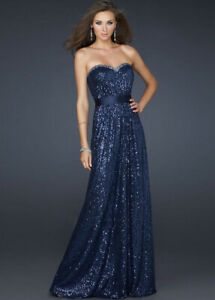 Navy sequined prom/evening dress for sale, size 0