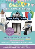 party and event equipment needs! available for rent