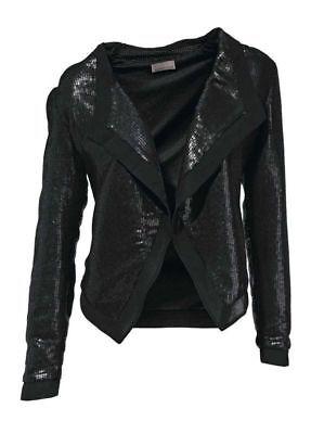 Mandarin Pailletten-Shirtjacke, schwarz, GR 40 NEU - Mandarin Shirt Jacke