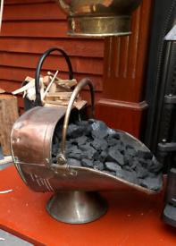 3 vintage coal scuttles