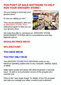 GET A POS SYSTEM TO HELP RUN YOUR GROCERY STORE - 90% off!