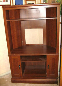 Cherry Coloured Sauder Corner TV Cabinet