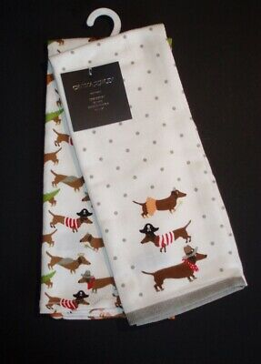 2 Dachshund Dogs in Halloween Costumes Kitchen/ Tea Towels Cynthia Rowley - Dachshund Halloween Costumes