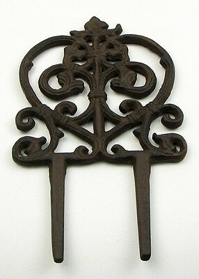 CAST IRON-  VINE Garden Stake Set Of 2 Black Finish Patio Decor