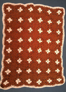 New hazelnut brown & cream 24 x 32-inch hand-crocheted afghan