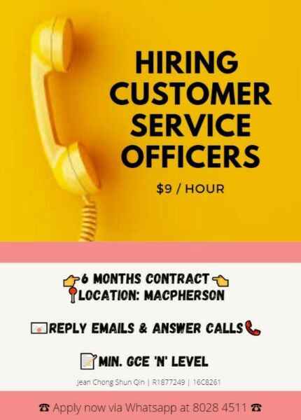 MACPHERSON | HIRING CALL CENTRE AGENTS @ $9/H | 3-6 Months Contract