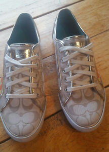 Ladies Gold Coach Sneakers