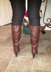 Dark brown leather stiletto boots, size 10, worn once, $40 ono St. John's Newfoundland image 10