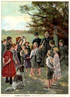 """Schule-Kinder-Lehrer """"Jugendspiele b.Schulausflug"""" Orig.Farb-Holzstich von 1902"""