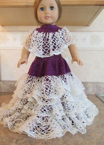 "Brand New Unique Evening Gown 18"" American Girl Doll Hand Knit"
