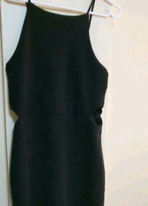 Black Short Dress with Side Cut-Outs
