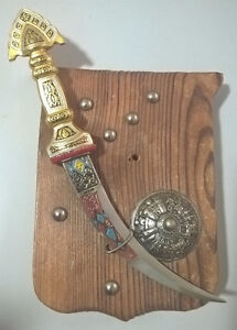 Vintage Miniature Damascene Gold Curve Blade and Shield