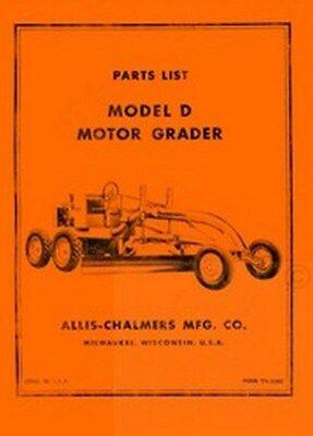 Allis Chalmers D Motor Grader Parts List Manual Ac