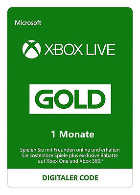 Xbox Live Gold 1 Monat Mitgliedschaft Karte MS Xbox One & 360 1 Month Card Code